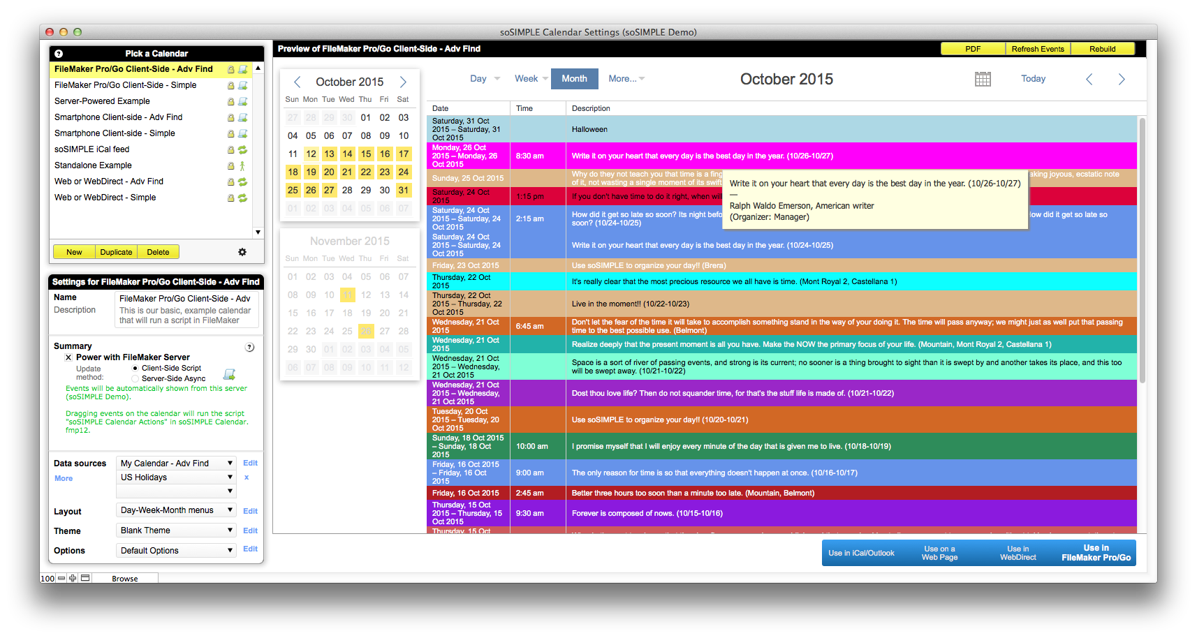 Filemaker calendar and resource scheduler by sosimple for Filemaker pro calendar template free