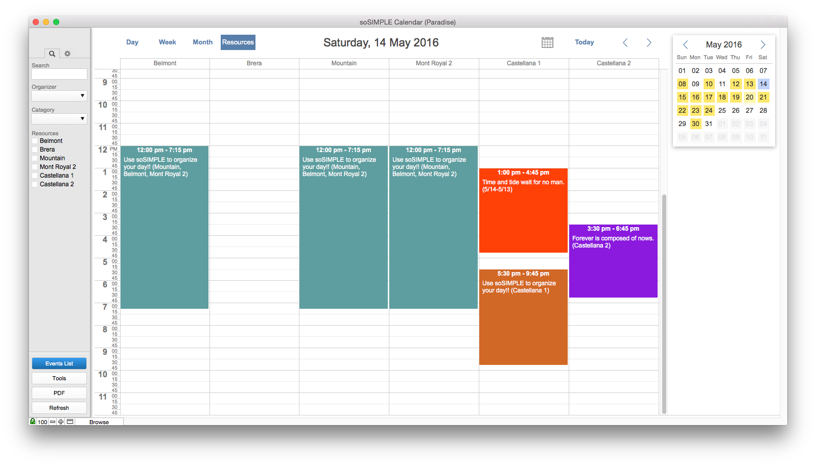 soSIMPLE Calendar for FileMaker features – soSIMPLE Software